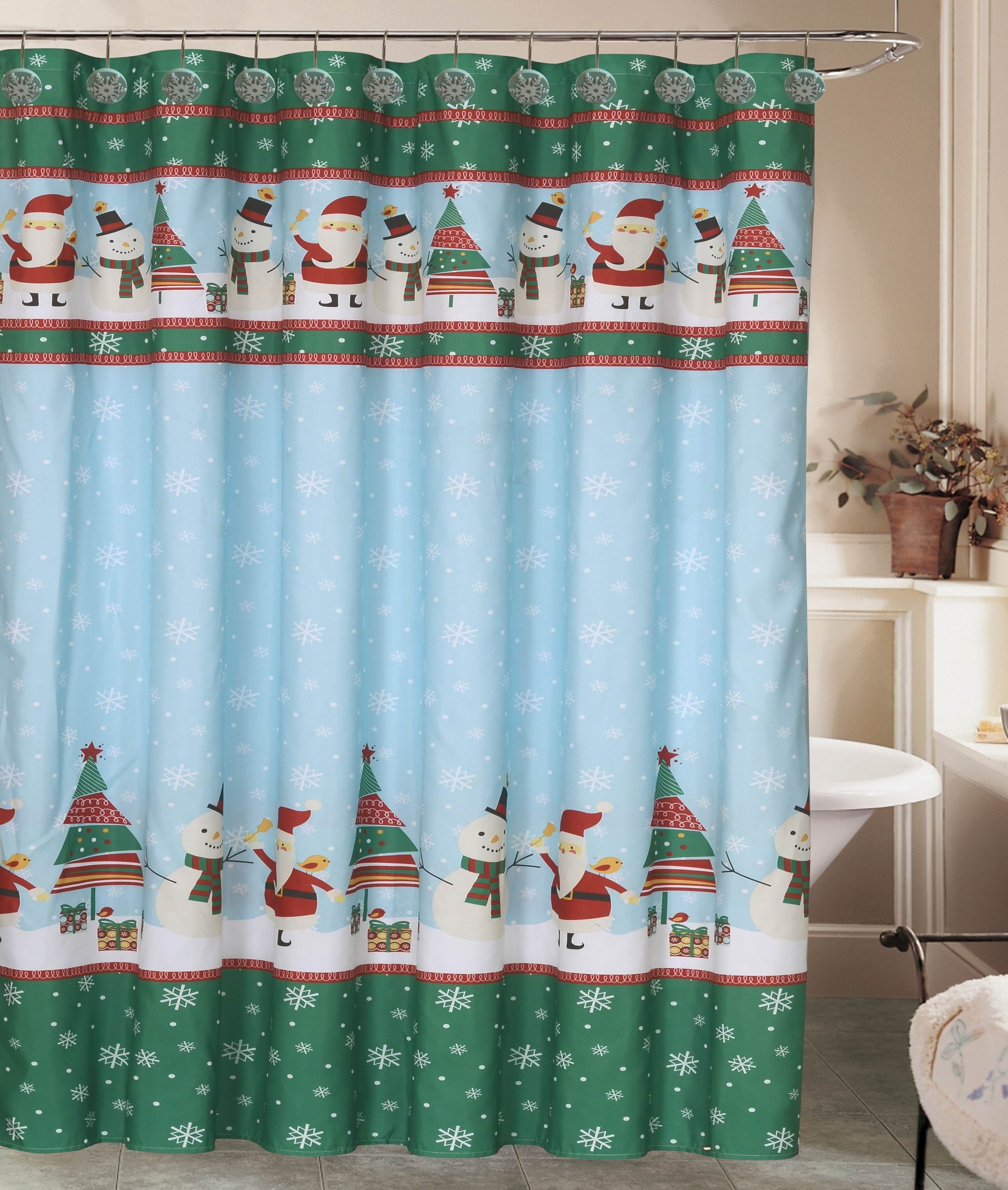 Snowman Bathroom Sets Beatrice Christmas Holiday Santa Shower Curtain With 12 Resin
