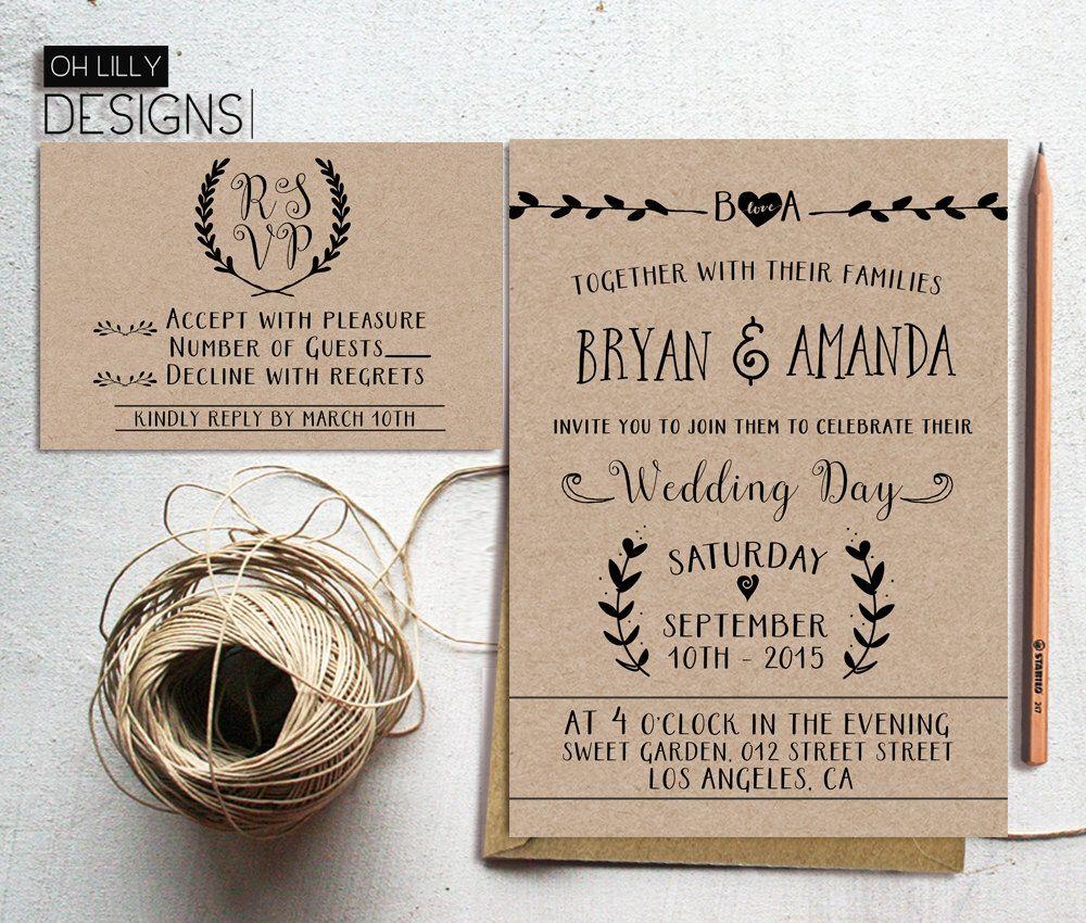 Rustic Wedding Invitations And Rsvp