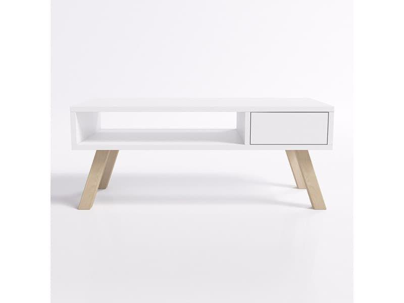 Table basse vero bois blanc mat pieds en bois de hêtre