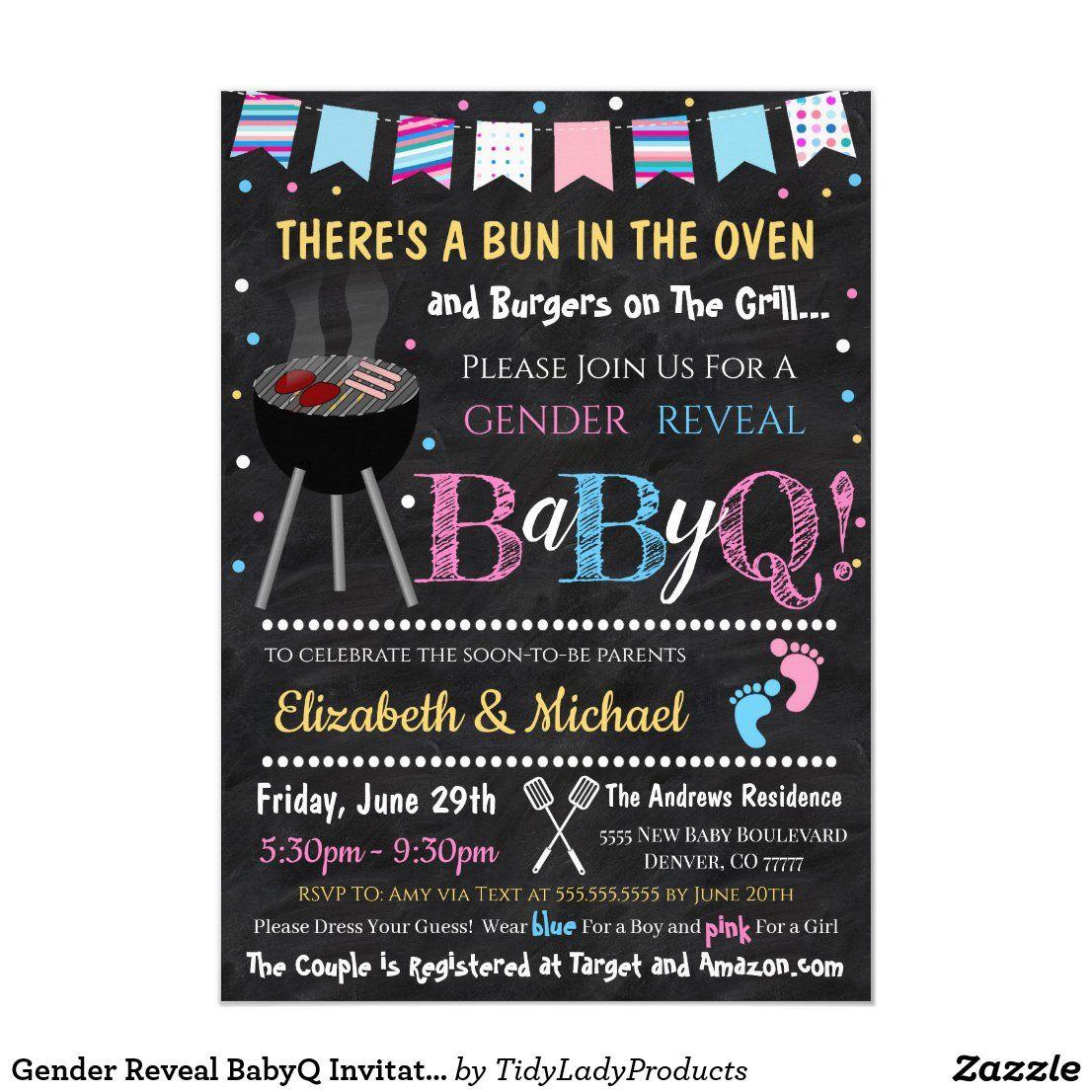 Gender reveal babyq invitation in 2020