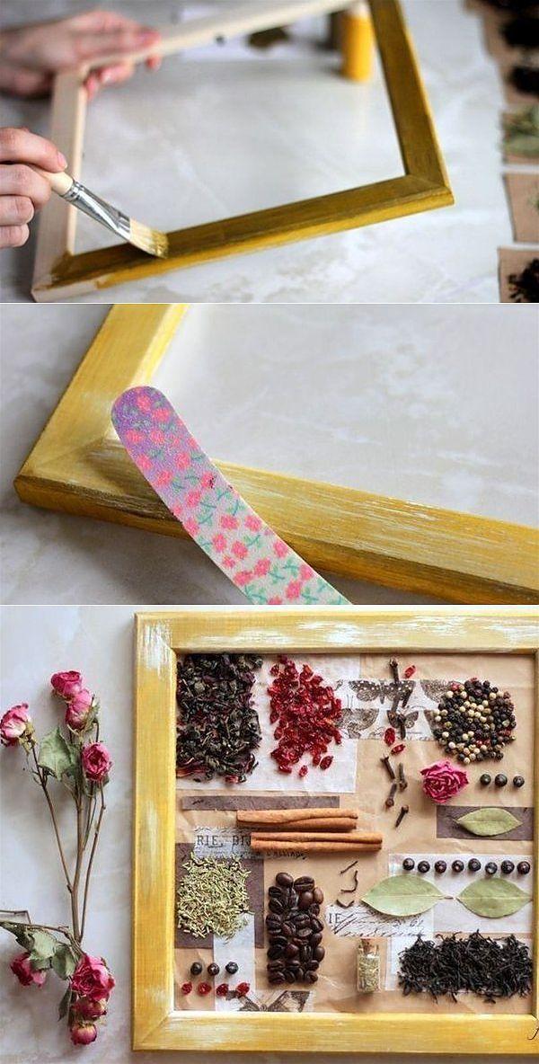 Скрасьте досуг - сделайте коллаж из пряностей для декора кухни.