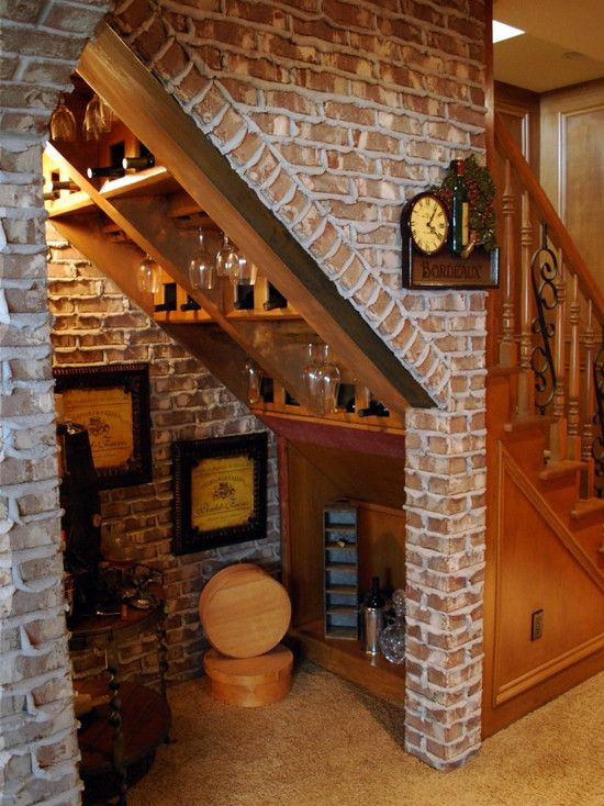 Wine Nook Under The Stairs Rustic Basement Basement Remodeling Bar Under Stairs