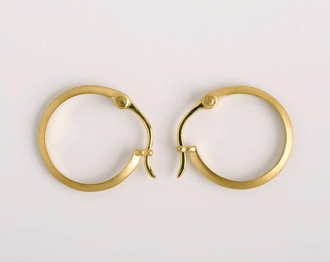 Solid Gold Hoop Earrings Simple Circle Dainty Small