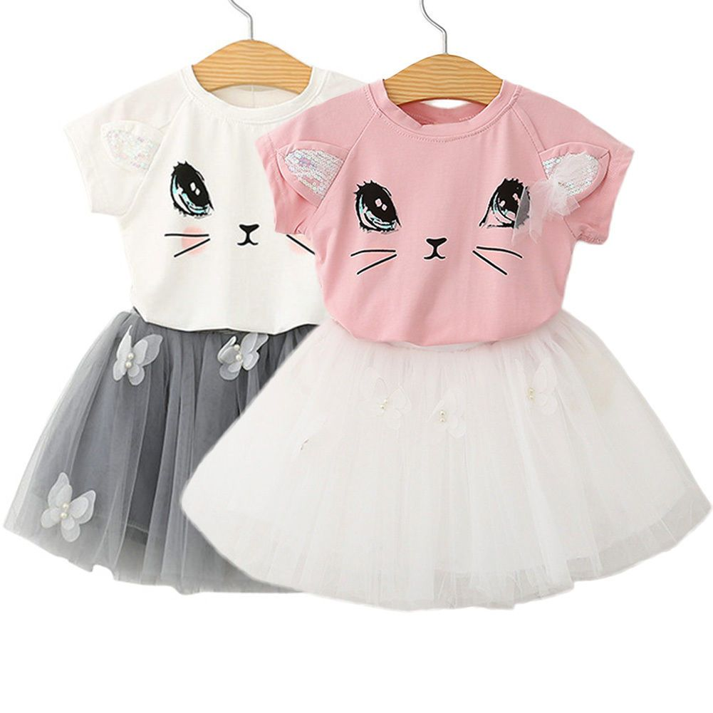 Summer Kids Baby Girl Outfit Cute Top T-shirt Tutu Skirt  Dress 2pcs Clothes Set