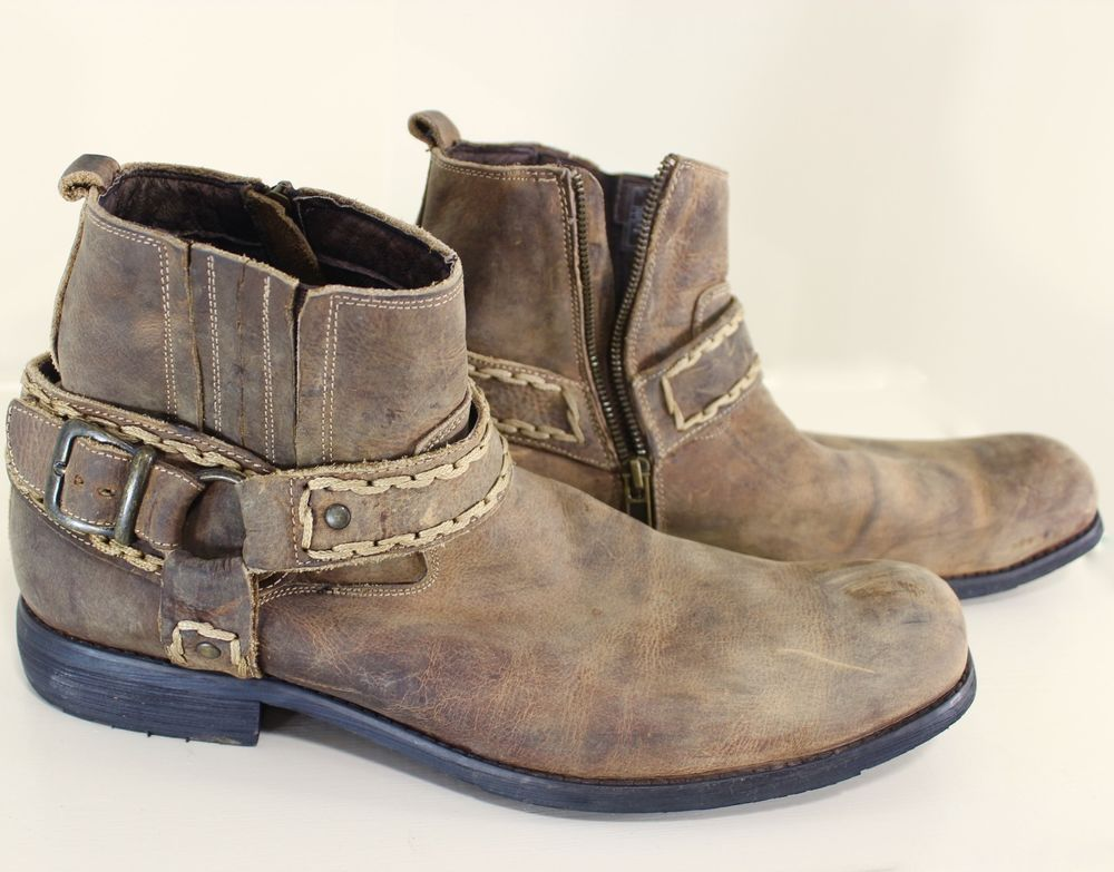 Bed Stu Rustic Mens Ankle BOOTS sz 13 Distressed Brown