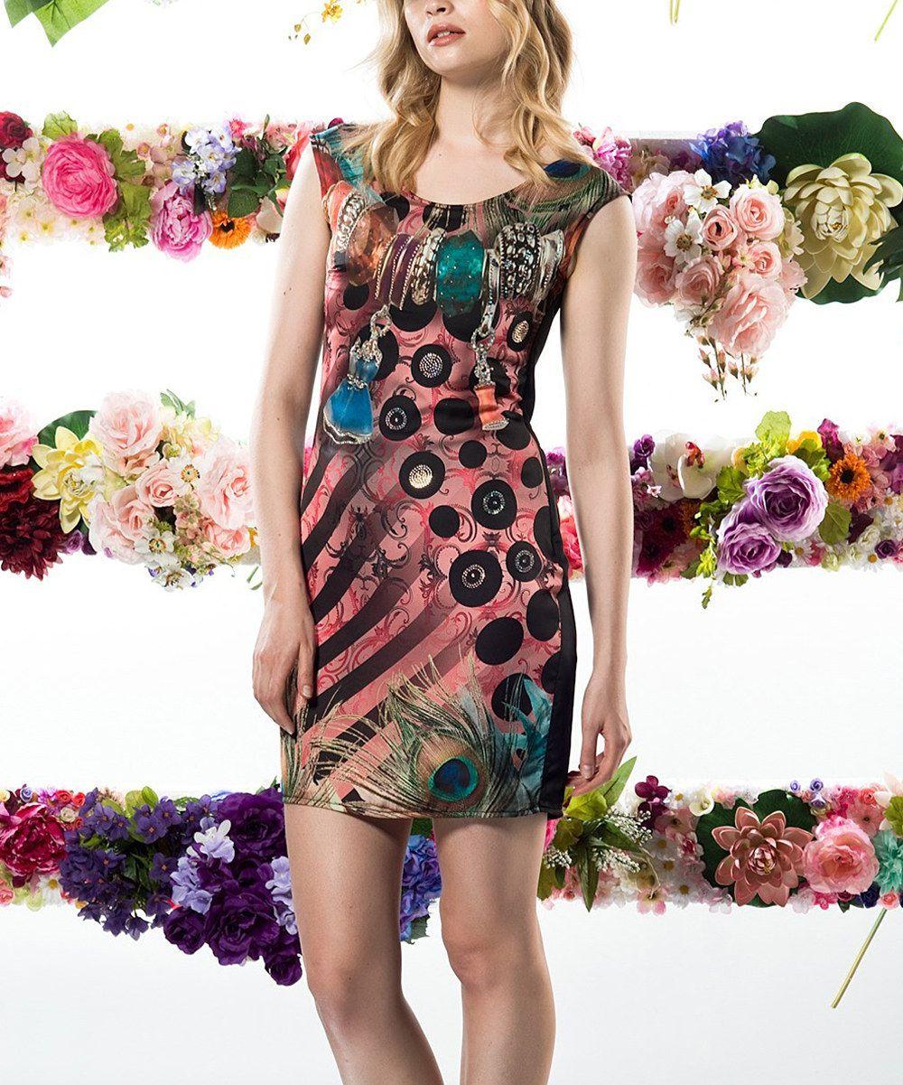 Look at this zulilyfind black peacock status rhinestone dress by