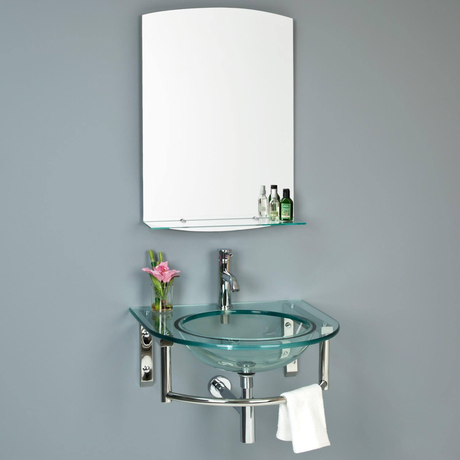 Lowry Wall Mount Glass Sink with Mirror and Shelf Wall Mount
