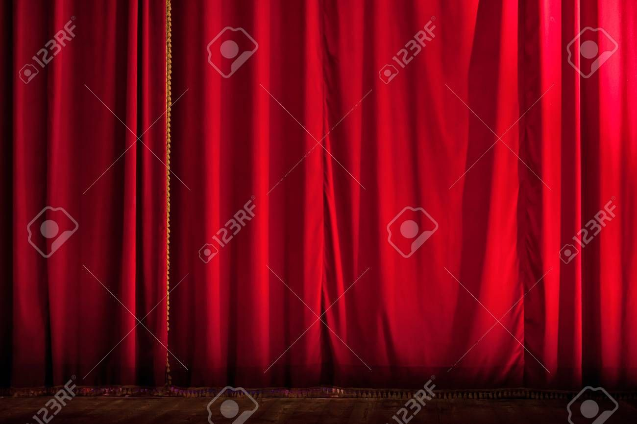 Closed Red Stage Curtain Of A Theater Stock Photo Ad Stage