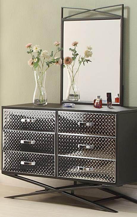Spaced Out Chrome,Grey Youth Dresser U0026 Mirror