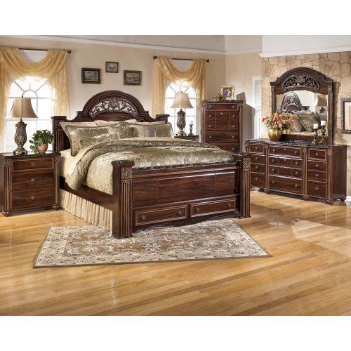 Gabriela - Dark Reddish Brown 4 Piece Bed Set (King) in 2019 ...