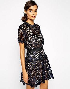 Self Portrait Lace A Line Dress With Peplum Detail black dress ...