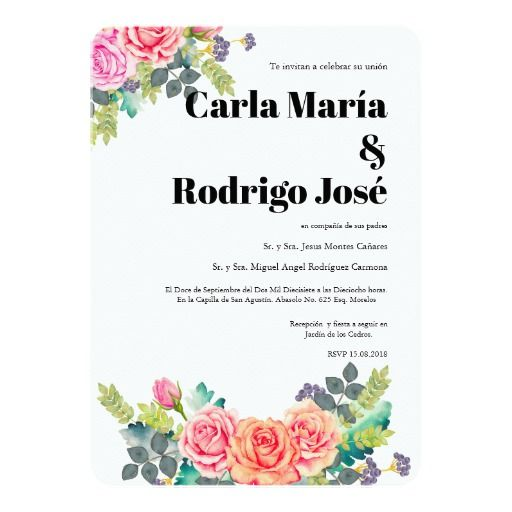 Dreaming Rose Spanish Wedding Invitation