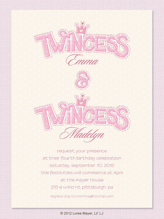Printable Twincess Birthday Invitation For Twin Girls By Lilljbaby 2250