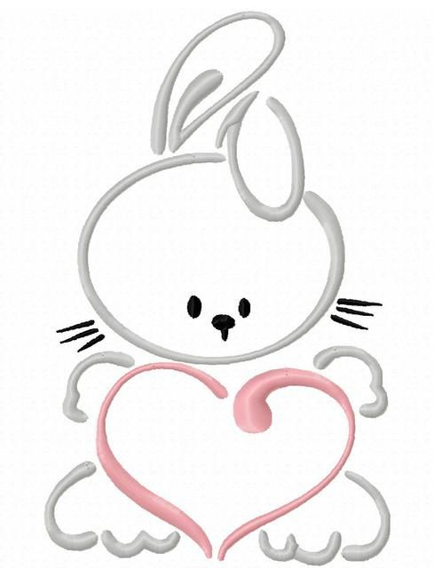 Bunny with Heart Satin Stitch Outline Embroidery Design: Jazzy ...