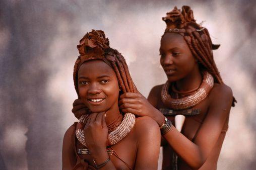 Himba Girls Arranging Their Hair Himba People Himba Girl