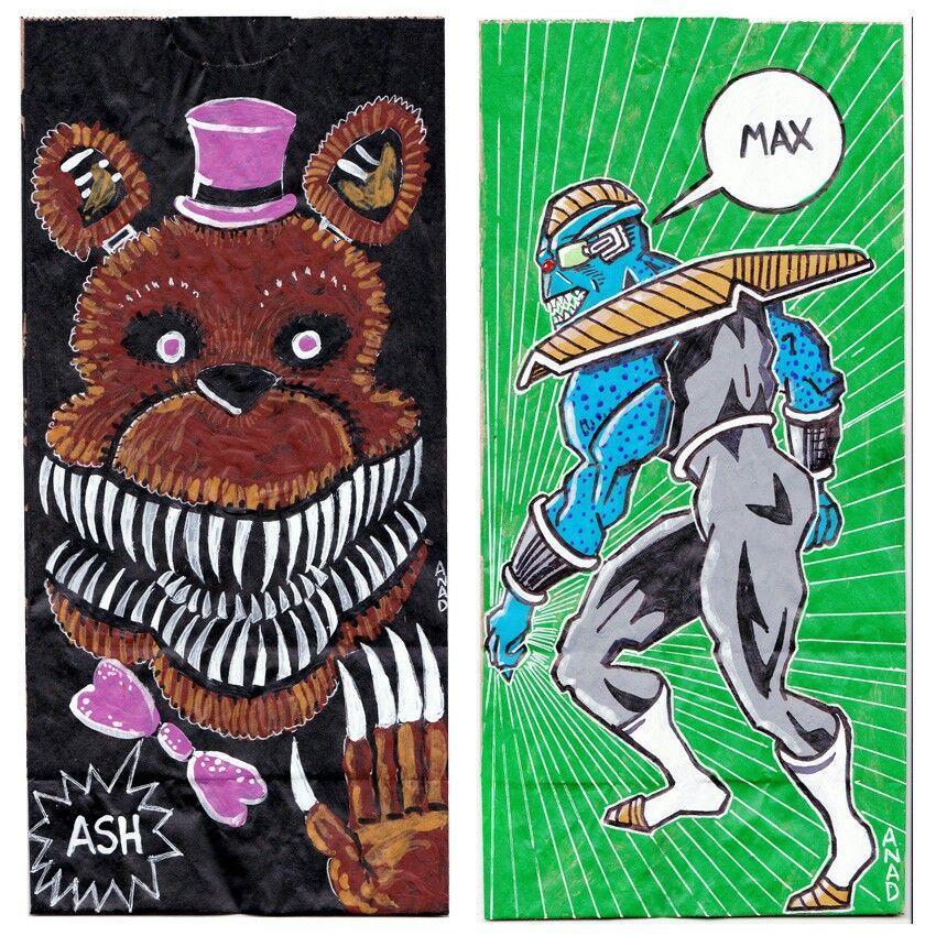 20150923 #Sketch #lunchbags for my #sons. #art #drawing #anad #anadart#school #paint #markers #doodles #kids #brownbagart #sketchlunchbag#FiveNightsAtFreddys #FNAF #NightmareFredbear #DragonBallZ #Burter #VideoGame #Anime#Cartoon #Manga #Windows
