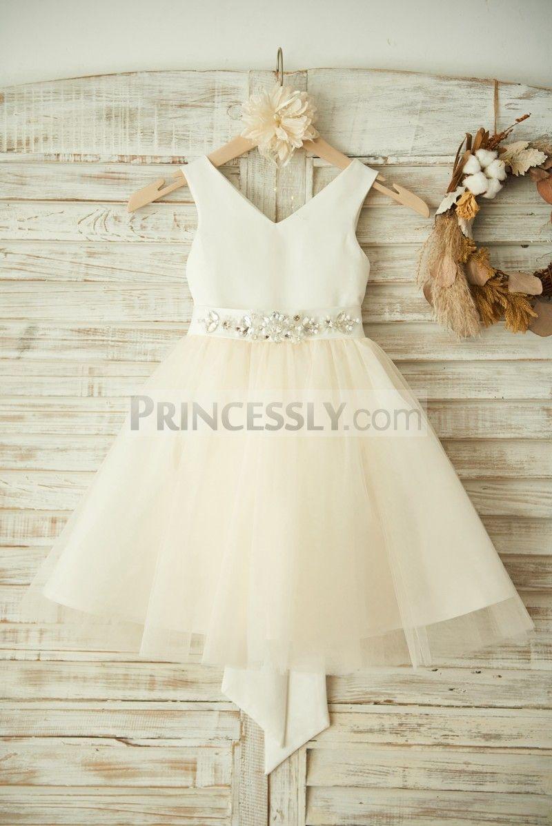 V neck ivory satin champagne tulle wedding flower girl dress with