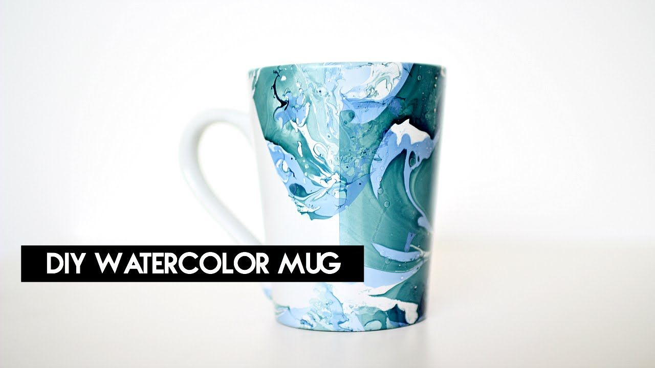 Diy Watercolor Mug Crystalcreateschic Using Acrylic Nail
