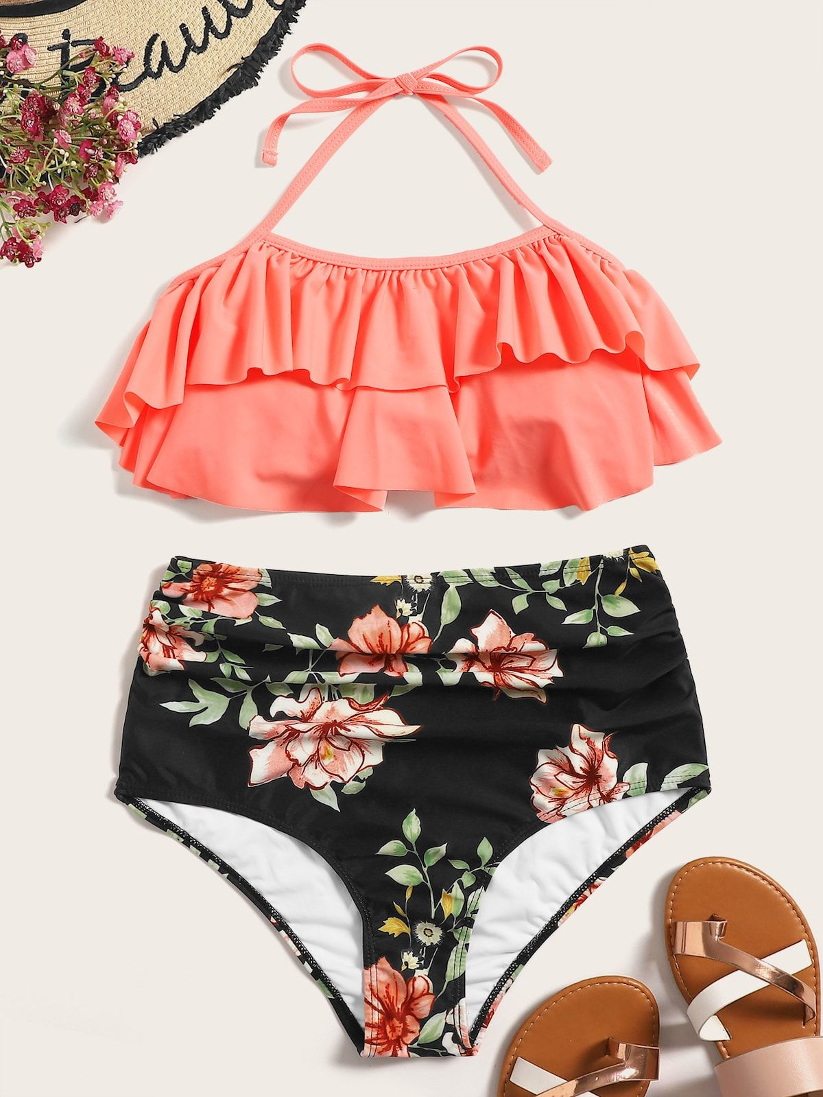 eb8158223b370 Layered Ruffle Halter Top With Random Floral Ruched Bikini in 2019 ...