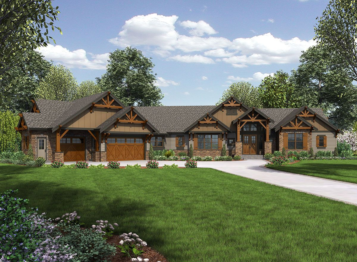 Plan 23609jd one story mountain ranch home craftsman for Single story ranch style homes