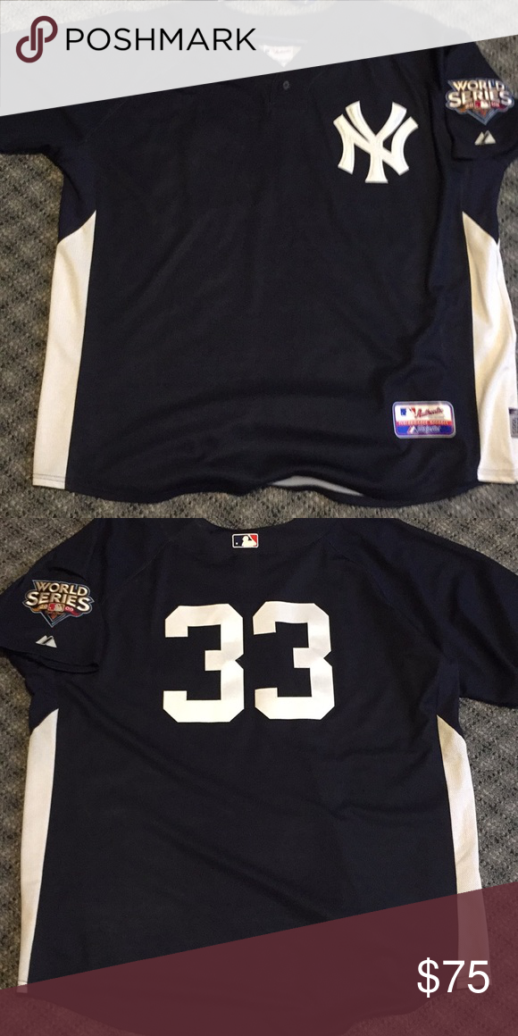Authentic New York Yankees Nick Swisher Jersey Authentic   33 Nick Swisher  New York Yankees batting 3822c0262ad
