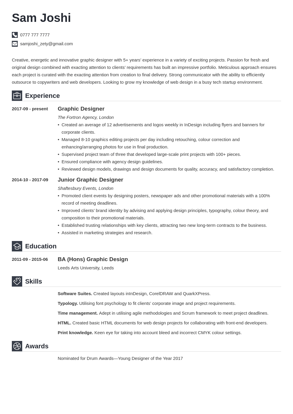 uk graphic designer cv example template iconic in 2020