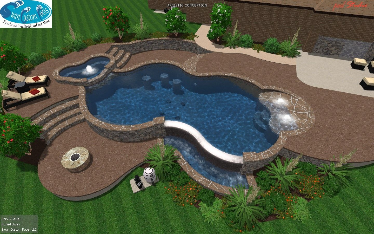 Infinity edge swimming pool w bbq swim up bar and spa for Pool design with swim up bar
