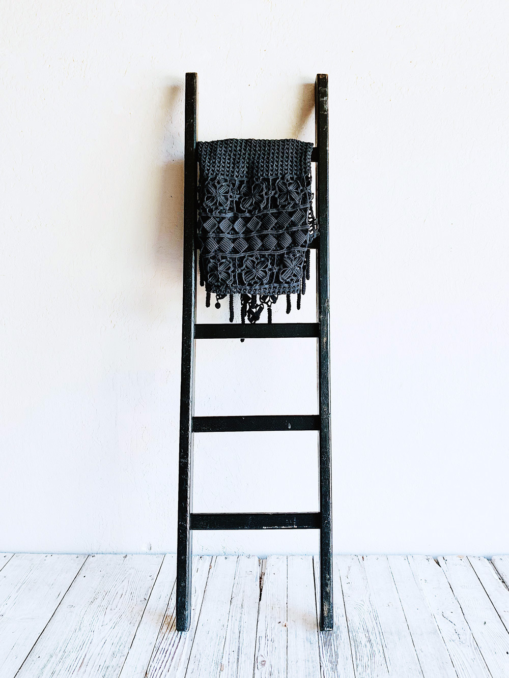 Black Farm Ladder Rustic Winter Decor Winter Decor Ladder Decor