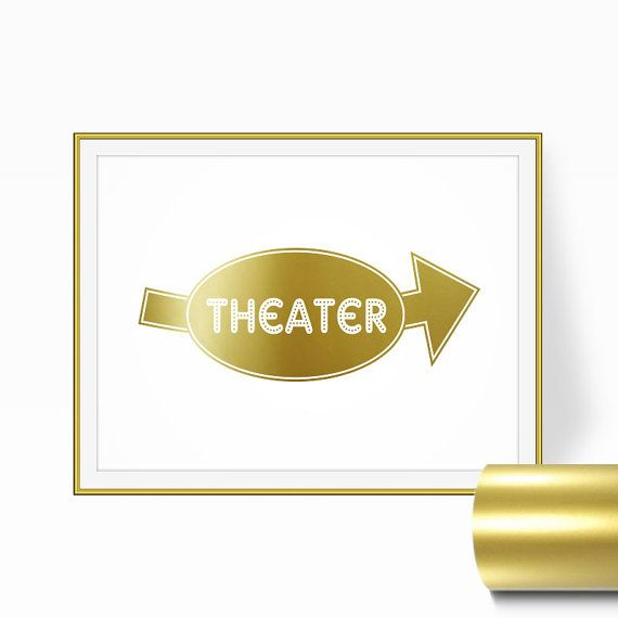 Movie Theater Decor Gold Print Home Theater by RetroArtPrints ...