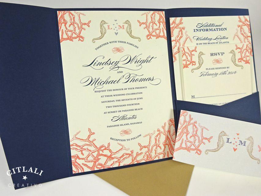 Navy Kraft Beach Coral Reef Seahorses Pocket Wedding Invitations