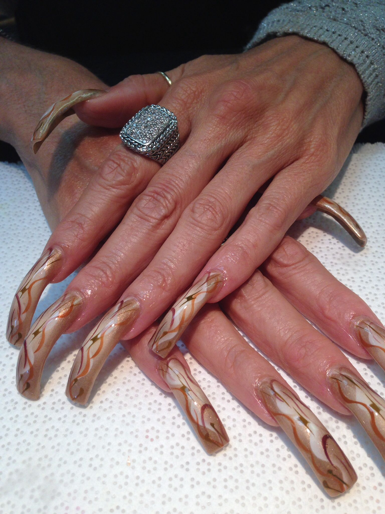 Airbrush bronze long nails | Long acrylic nails, Airbrush ...