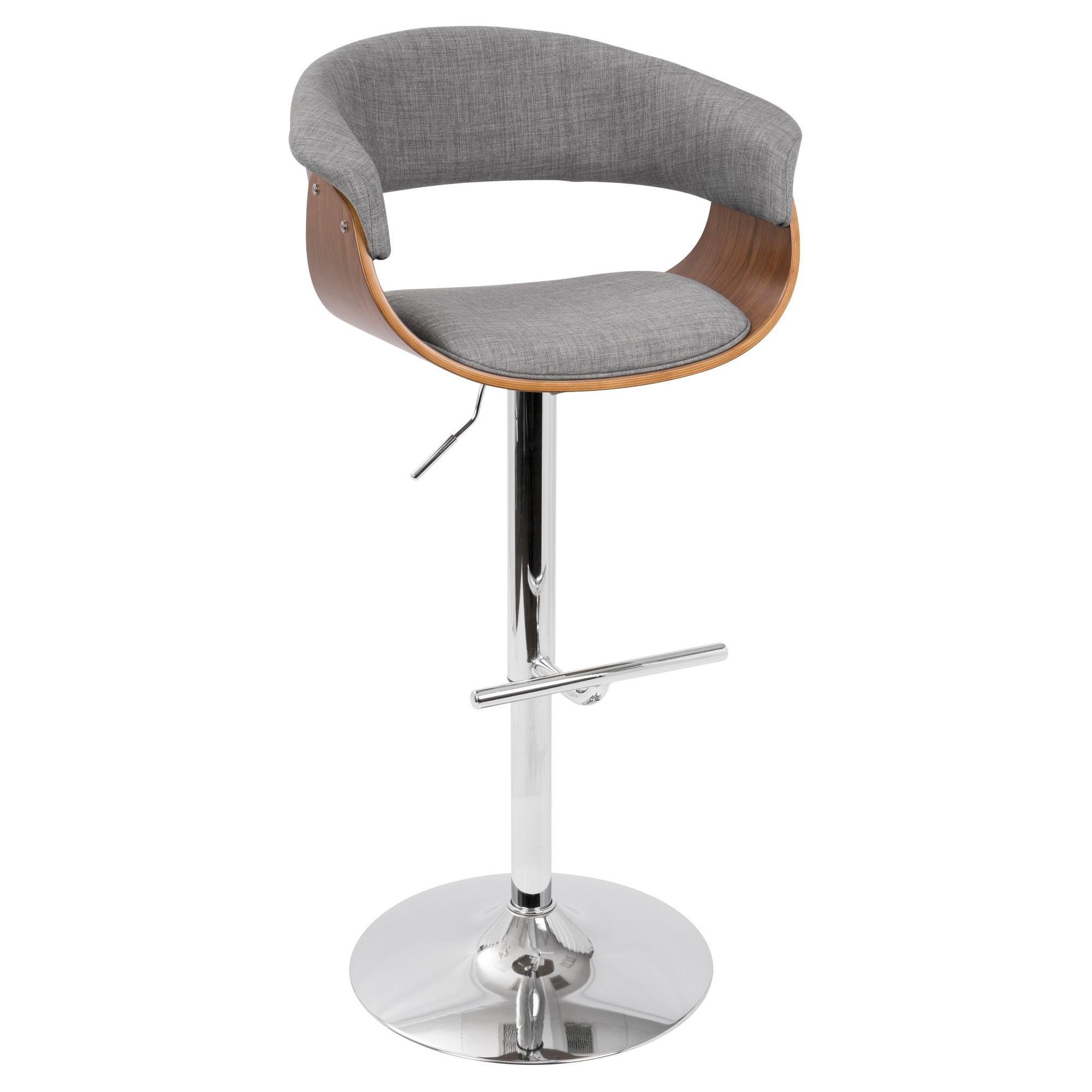 Vintage Mod Mid Century Modern Adjustable Barstool Walnut And