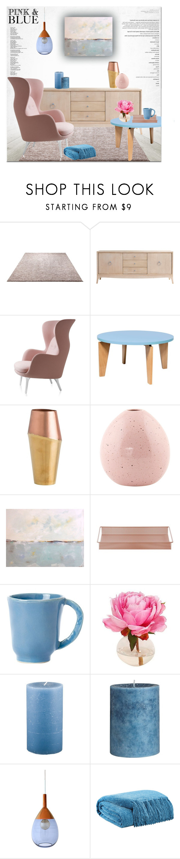 """Color Challenge: Pink and Blue"" by helenevlacho ❤ liked on Polyvore featuring interior, interiors, interior design, home, home decor, interior decorating, ESPRIT, Redford House, TemaHome and Arteriors"