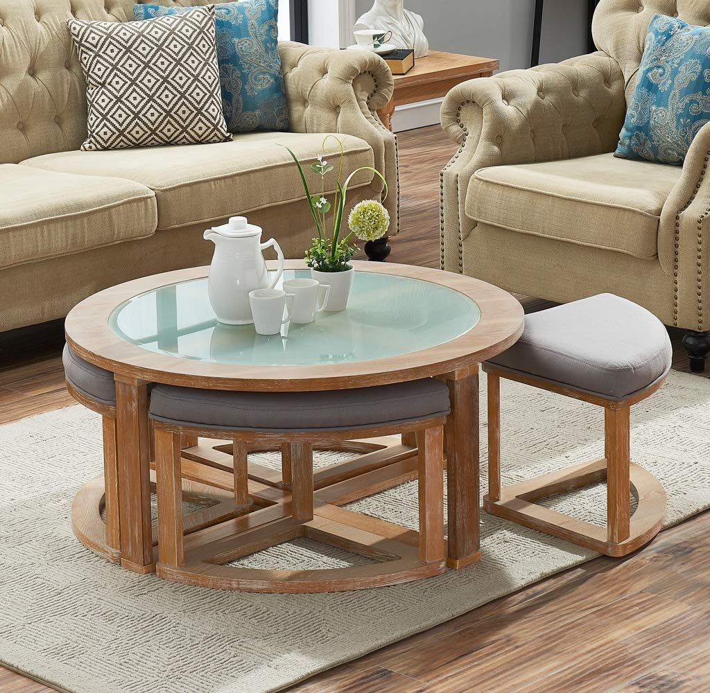 O K Furniture Round Coffee Table With 4 Nesting Stools Cocktail Height Coffee Table With Frosted Glass 5 Coffee Table Round Coffee Table Coffee Table Height [ 1000 x 1024 Pixel ]