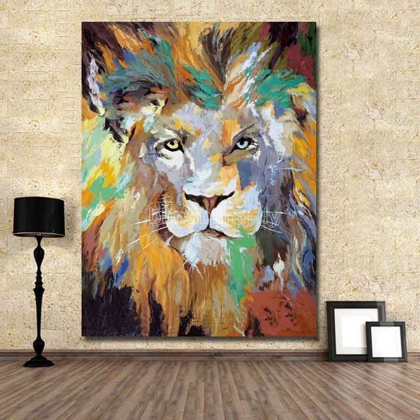 handpainted abstract oilacrylic canvas painting wall pop art lion animal