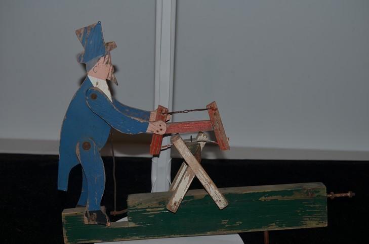 Old Doll Carved Wood Folk Art Mechanical Unusual Folk Art