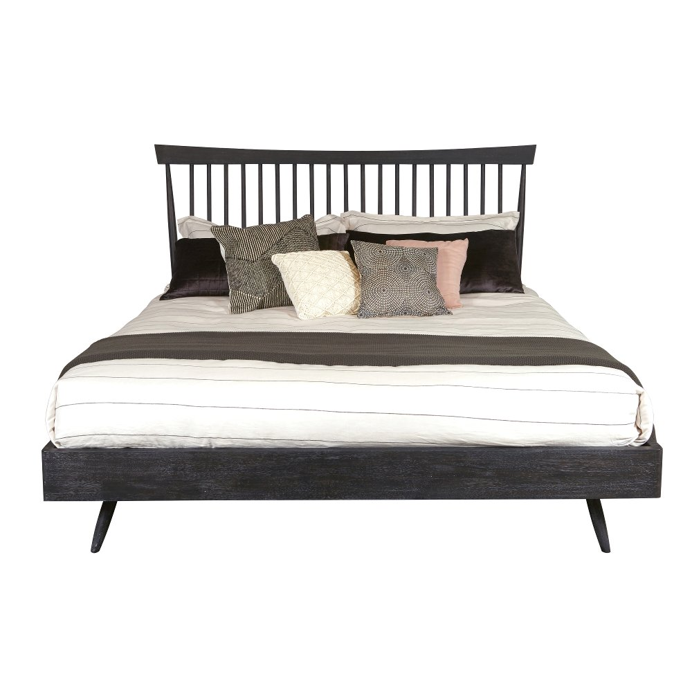 Distressed Gray Queen Shaker Platform Bed Modern Eclectic