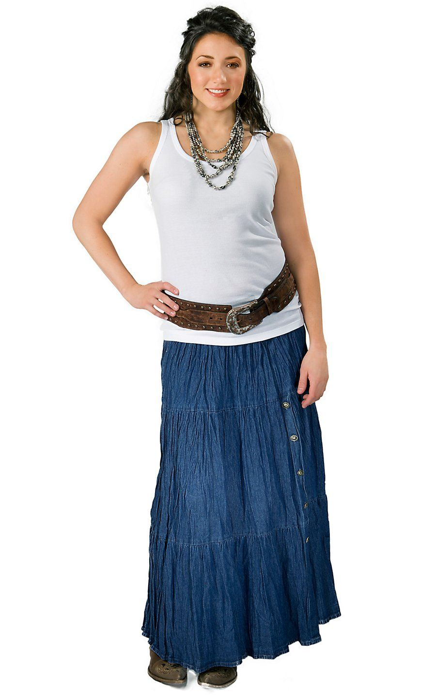 78152c60f1f Crazy Cowgirl® Women s Denim Long Broomstick Skirt