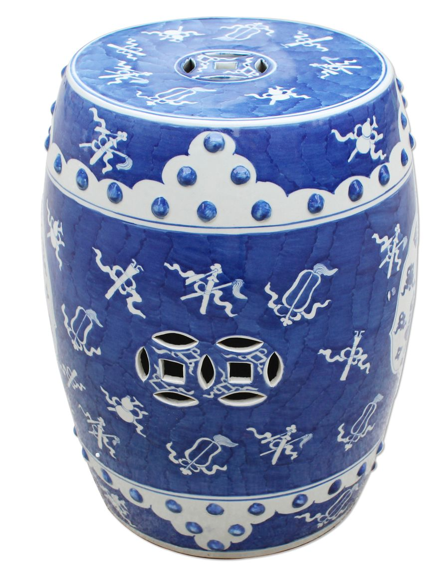 Very Pretty Blue And White Ancient Pattern Garden Stool Free Shipping White Garden Stools Garden Stool