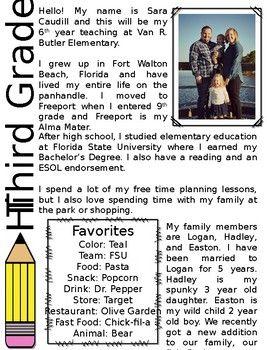 Pencil Teacher Introduction Letter Editable  Classroom Ideas
