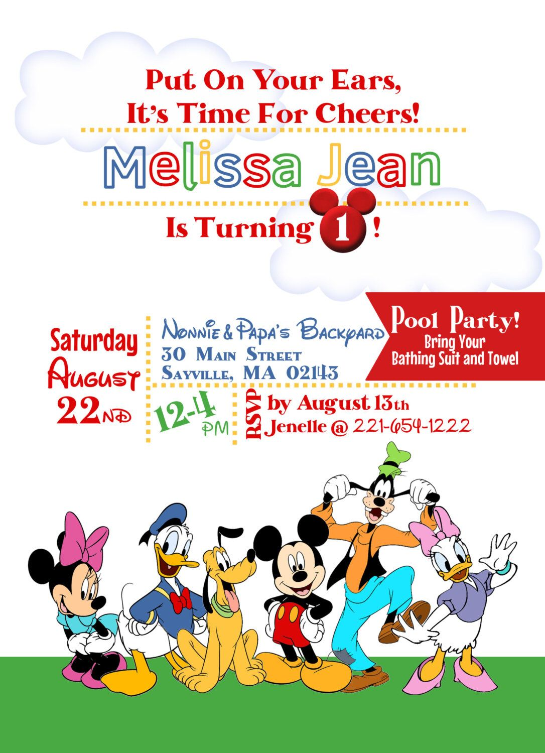 Mickey Friends Birthday Invitation by AfternoonInParis on Etsy