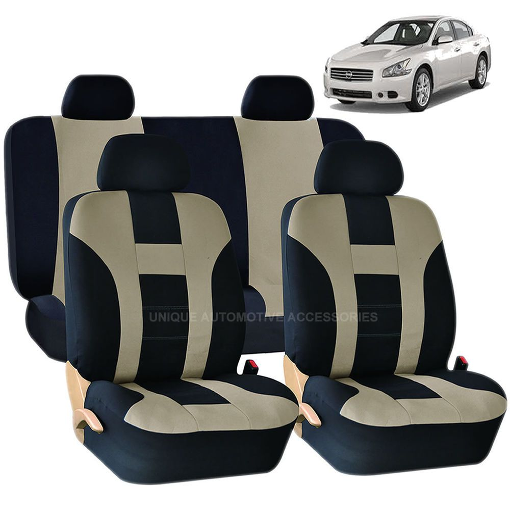Beige black dbl stitch seat covers bench 8pc set for nissan murano sentra