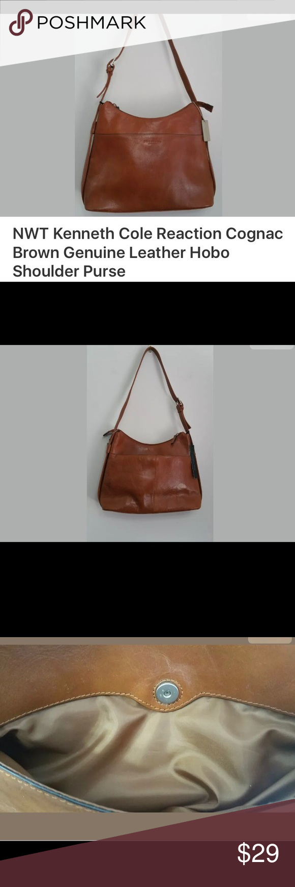 Kenneth Cole Reaction leather hobo shoulder bag Genuine leather, n w/o tags, depth 3.5, length 14, height 8.5, medium size bag, strap drop 14 Kenneth Cole Reaction Bags Hobos