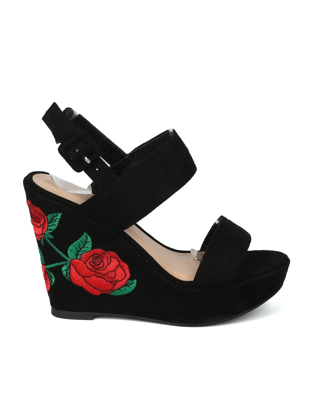 0a296651b06689 Black Faux Suede Platform Wedge Sandals