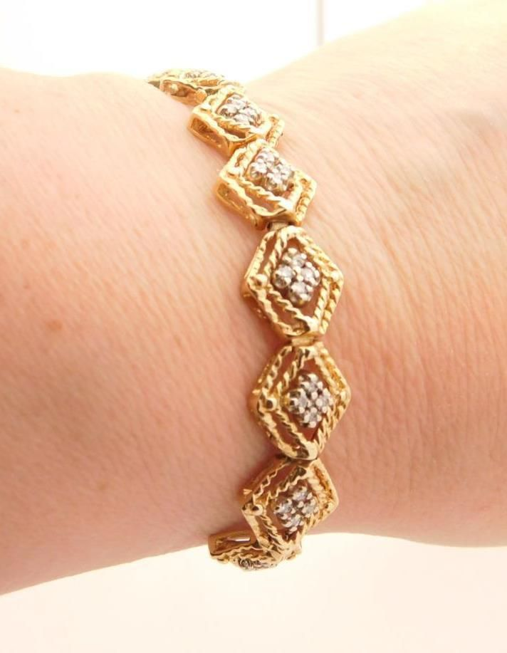 0 50 C T W Las Round Cut Diamond Add A Link Bracelet Yellow Gold 14k 37187