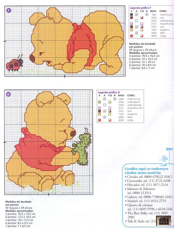 Winnie the Pooh Chart | Cross stitch | Pinterest | Punto de cruz ...