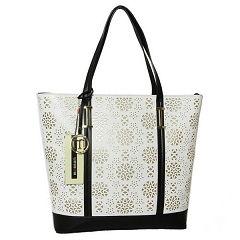 Monnari Torebka Shopper Azurowe Kwiaty Biala Z Czarnym Tote Bag Bags Tote
