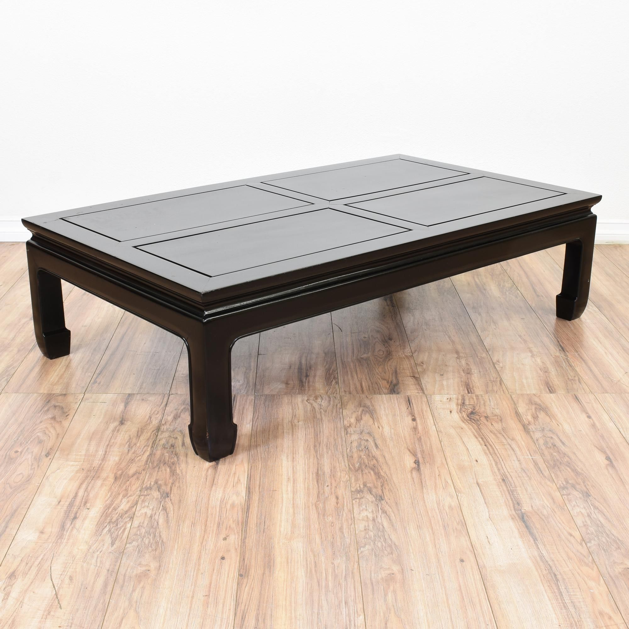 This Asian Style Coffee Table Is Featured In A Solid Wood With Glossy Black Lacquered Finish Good Condition Carved Trim