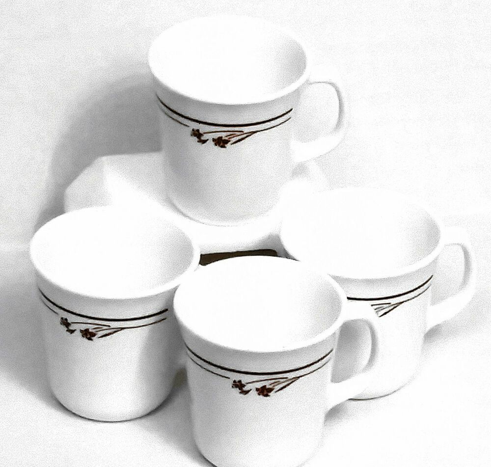 4 Lot Corelle Corning Melody Cup Mug D Handle Microwave