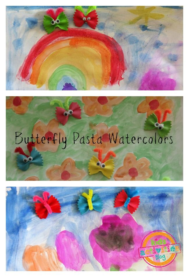 Butterfly Pasta Watercolor Art Art For Kids Watercolor Art Kids
